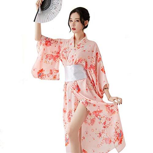 KSDFIUHAG Camisolas para Mujer Conjunto De Camisón De Gasa Kimono Japonés para Mujer, Lencería para Mujer, Ropa De Dormir Erótica, Ropa Interior para Bebé, Color Rosa, Talla Única