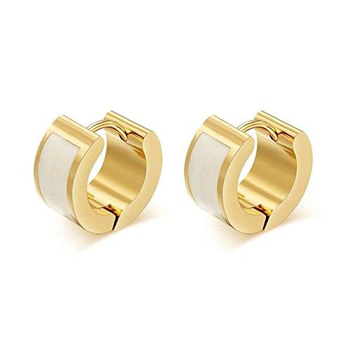 ANAZOZ Acero Inoxidable Pendientes para Mujer Aretes Pendientes Oro Blanco Half Circulo Esmalte 7x12MM