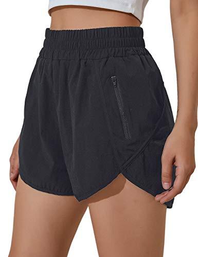 BMJL Women's Running Shorts Elastic High Waisted Shorts Pocket Sporty Workout Shorts Quick Dry Athletic Shorts Pants(M,Black)