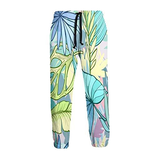 Olverz Pantalones Jogger Banana Dracaena Leaf Transpirable Gimnasio Pantalones Suave Pantalones Atléticos