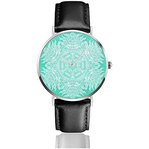 Mandala Design in bianco su Aqua Green Donna Uomo Donna Teen Girl Pu Orologi da polso con cinturino in pelle