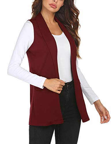 HOTLOOX Teenager Open Front Sleeveless Vest Trench Coat Casual Cardigan Blazer Jacket with Pockets (Wine Red, Large)