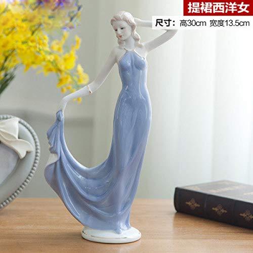 ZKYXZG Skulptur Keramik Schönheit Figur Von Einrichtungsgegenständen Handwerk Dekoration Westlichen Dame Mädchen Porzellan Handwerk Ornament Hochzeitsgeschenk, Stil 6