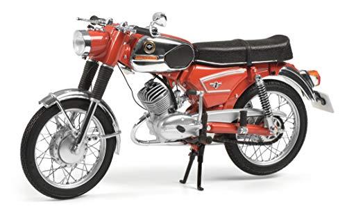 Schuco 450661900 Zündapp KS 50, Super Sport, niedriger Auspuff, Motorrad, Modellauto, Maßstab 1:10, rot