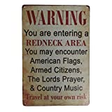 TG,LLC Treasure Gurus Funny Redneck Area Metal Warning Sign Novelty Man Cave Home Bar Pub Wall Decor