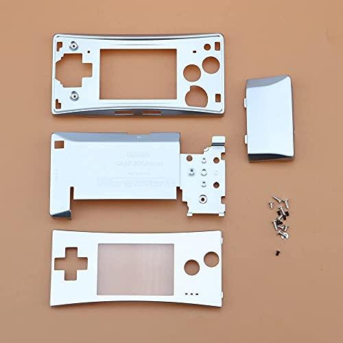 GGZone Farbiges Metallgehäuse, Frontabdeckung, Frontabdeckung, Frontabdeckung, Batteriehalter mit Schrauben für Gameboy Micro GBM Ersatz (Silber)