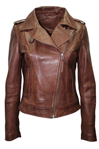 Infinity Ladies Casual Retro Brown Brando Soft Nappa Leather Biker Jacket 14