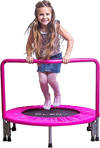 Woodtree 36' Kids Mini Trampoline with Handle, Safety and Durable Toddler Trampoline - 3 Colors Available,Colour:Navy Blue (Color : Princess Pink)