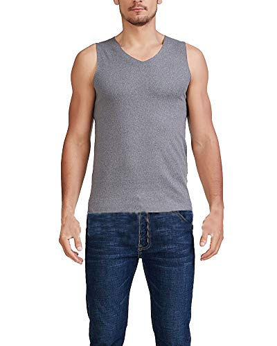 Chaleco cálido para Hombre,Sin Costura Ropa Interior térmica Chaleco Camiseta sin Mangas Talla Grande Gris Oscuro 6XL