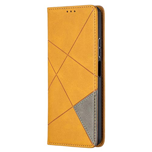 Yagook PU Leder Hülle Schutzhülle Brieftasche Slim Handyhülle Lederhülle mit Kartenfächer Magnet Ständer Klapphülle Flip Case Wallet Tasche Etui Schale Kompatibel mit Huawei P Smart 2021 - Gelb