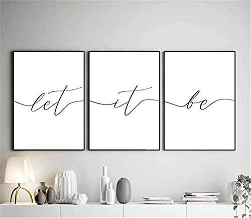 LILHXIU Cuadro minimalista moderno en lienzo con impresión Let It Be Wall Art Poster 3 piezas para sala de estar, oficina, decoración de pared (sin marco)