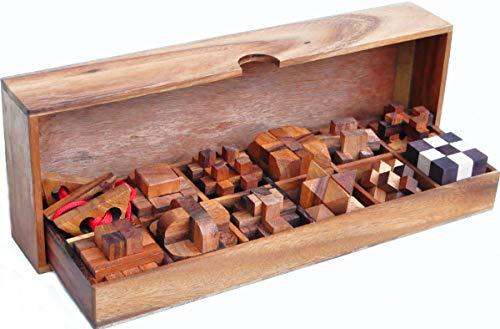 LOGICA GIOCHI Art. Set de Madera 12 en 1 - Rompecabezas 3D de Madera Preciosa – Set de Puzzles Inteligentes - Todos Los Niveles de Dificultad - Colección Leonardo da Vinci