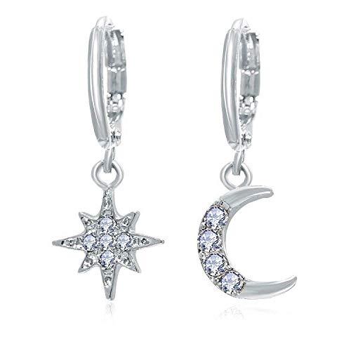 Hoop Earrings Asymmetrical Stars And Moon Earrings Creative Retro Alloy Gold Earrings-A04-02-31