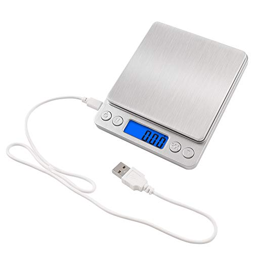 NEXT-SHINE Rechargeable Digital Kitchen Scale Gram Food Mini Pocket Size Scale 500g x 001g with Stainless Steel USB Charged for Cooking Baking Jewelry Postal Parcel