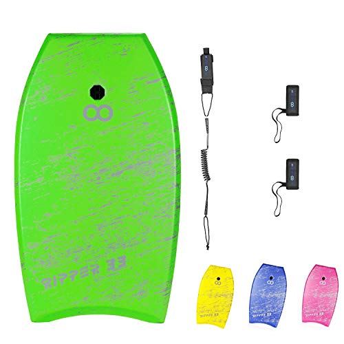 WOOWAVE Bodyboard 33-inch/36-inch/41-inch Super Lightweight Body Board with Coiled Wrist Leash, Swim Fin Tethers, EPS Core and Slick Bottom, Perfect Surfing for Kids Teens and Adults(33 inch, Green)