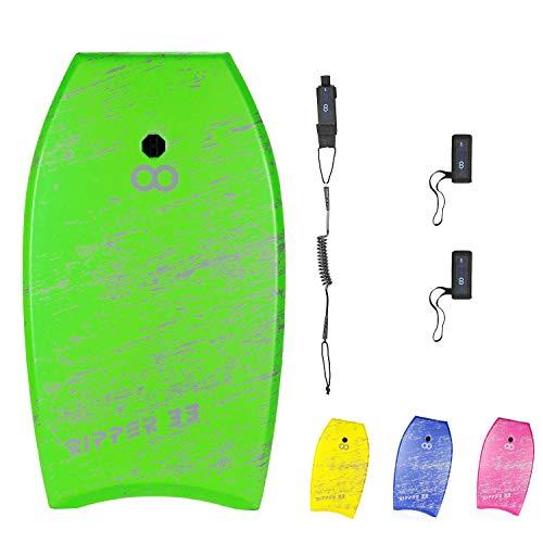 WOOWAVE Bodyboard 33-inch/37-inch/42-inch Super Lightweight Body Board with Premium Coiled Wrist...