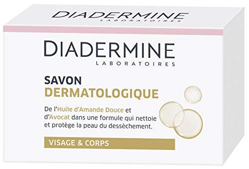 Diadermine - Savon dermatologique aux extraits hydratants d'amande douce et avocat - Visage et Corps - Nettoie et protège la peau du dessèchement - La boîte de 100g