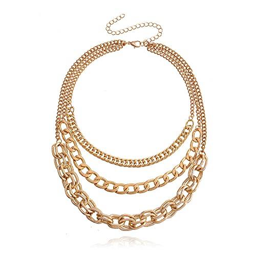 Collar de personalidad de múltiples capas, collar de cadena gruesa exagerada, temperamento femenino, artículo de moda fresco y elegante
