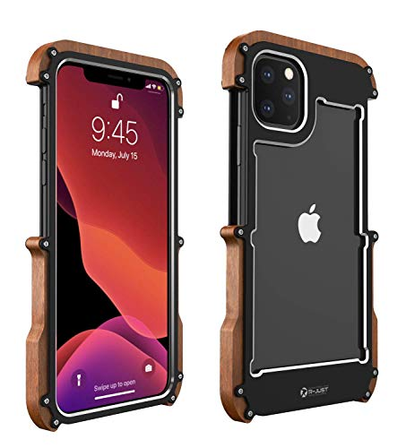 HikerClub Wood Case for iPhone 11 Pro Max Metal Frame Case with Real Nature Wood Bumper Ultra Slim Dropproof Shockproof Case (iPhone 11 Pro Max 6.5 inch)