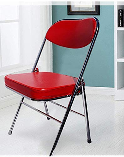XYSQWZ Folding Home Computer Chair, Leather Cushion Office Chair Simple Back Meeting Chair Training Chair Student Chair Dining Chair Very Practical (Color : Red)
