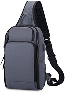 SODIAL Business Chest Bag Outdoor Sports Bag Male Convenient Chest Backpack Multi-Function Crossbody Bag Grey