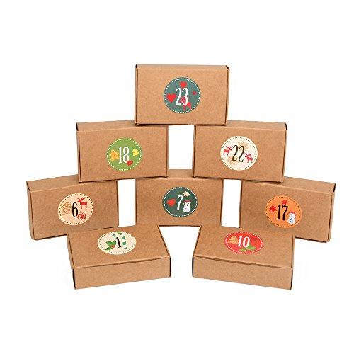 EAST-WEST Trading 24 braune Geschenkboxen Natur + 24 Adventssticker, für den individuellen Adventskalender oder auch für kleine Geschenke, Candy-Boxen, für Kekse, Bonbons, Deko Geschenkboxen