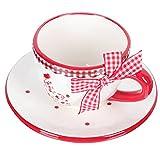 Toyvian 1 Juego de Tazas de Porcelana Cappuccino con Platos de Cerámica Tazas de Café con Diseño de Pollo con Flor Roja Juego de Tazas de Café para Bebidas Café con Leche Moca Té