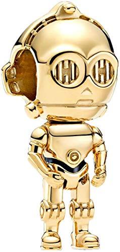 LaMenars Star Wars Charm Anhänger aus 925er Silber, Perlen für Armbänder und Armreifen, Charm für Damen und Mädchen (B-Star Wars C-3PO)