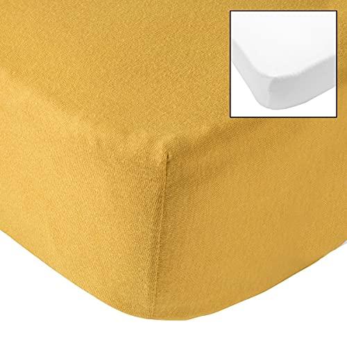 Babycalin BBC414007 lenzuolo con angoli, 70 cm x 140 cm x 17 cm, senape / bianco, set di 2, bianco, 2 pezzi