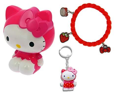 Hello Kitty, braccialetto con ciondolo e portachiavi profumati, confezione regalo, rosa