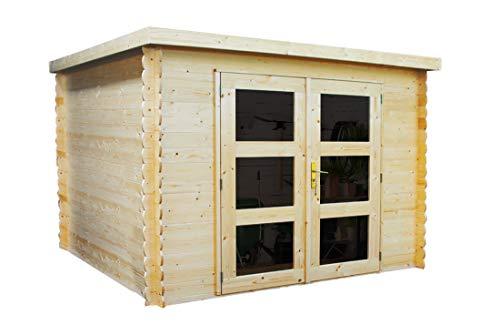 Alpholz Gartenhaus Gent aus Massiv-Holz | Gerätehaus mit 19 mm Wandstärke | Garten Holzhaus inklusive Montagematerial | Geräteschuppen Größe: 225 x 210 cm | Flachdach