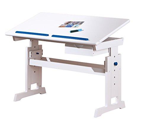 Inter Link Schülerschreibtisch Schreibtisch Arbeitstisch Kinderschreibtisch Massivholz MDF Weiss lackiert