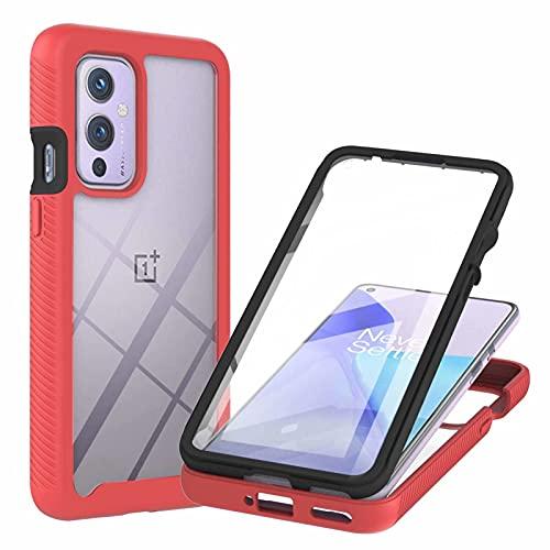 TTNAO Kompatibel mit OnePlus 9 Hülle,Durchsichtig Stoßfeste Schlank Handyhülle 360 Rundumschutz Prämie PET Vordere Gehärtete Membran Case Kratzfest Cover,Rot