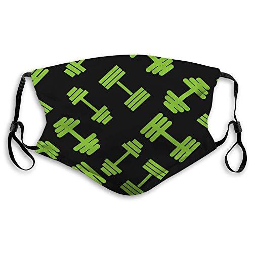 Beliebte Mundschutz für die Küche Jogging Hantel Grün Muster Nahtlose Flache Stil für Mundschutz
