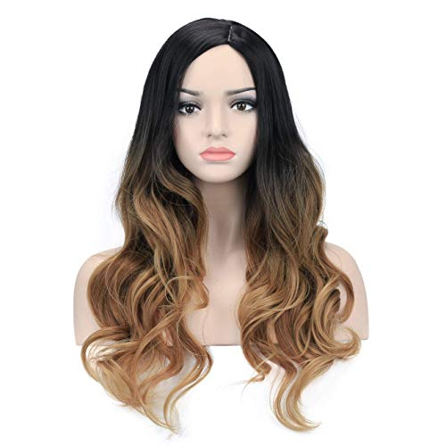 DAOTS 26'' Ombre Black Blonde Brown Wigs Long Wavy Curly Wig for Women Girls Curly Side Parting Hair Wigs No Bangs