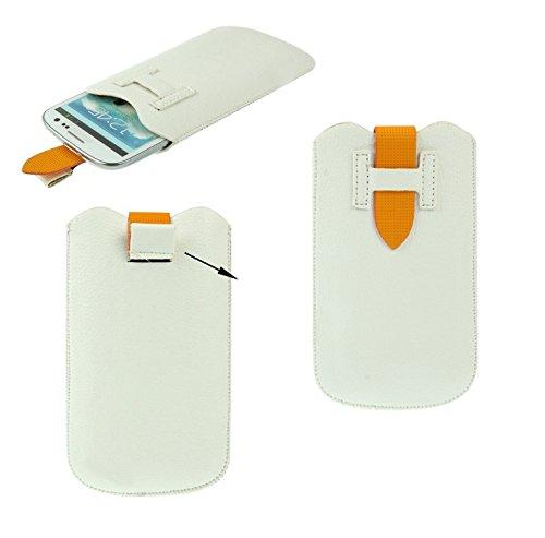 DFVmobile - Etui Tasche Schutzhülle aus Premium Kunstleder mit Rausziehband& Sicherheitsverschluss für gionee Pioneer p3 - Weiß