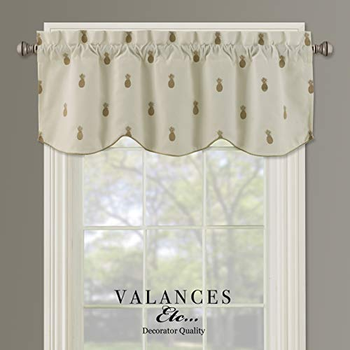 Valances etc. Southington Pineapple Embroidered Lined Decorator Quality Valance 52'x17'