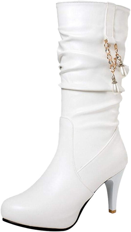 JOJONUNU Women Stiletto Mid Calf Boots