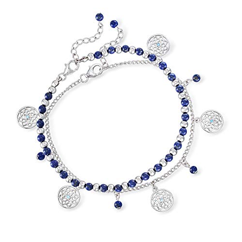 Ross-Simons Lapis Bead Jewelry Set: 2 Charm Anklets in Sterling Silver