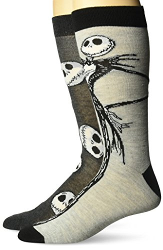 Disney mens Nightmare Before Christmas 2 Pack Crew Casual Sock, Assorted Grey, Fits Sock Size 10-13 Fits Shoe Size 6.5-12.5 US