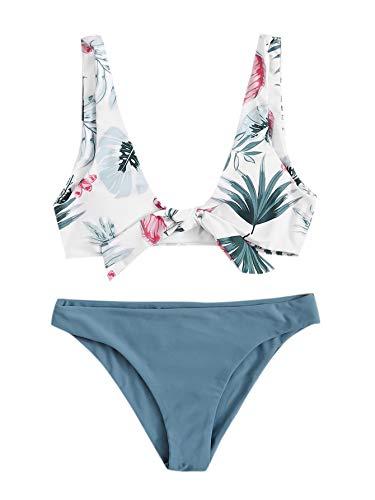 SweatyRocks Women's Bikini Set Tie Knot Front Swimsuit Floral Print Swimwear Set Multi S