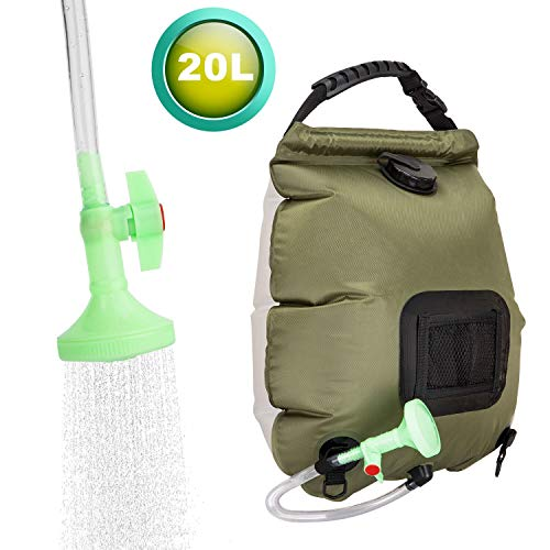 %5 OFF! VIGLT Solar Shower Bag for Camping 5 Gallons/20L Summer Shower Bag with Removable Hose and On-Off Switchable Shower Head Outdoor Shower Bag for Swimming Outdoor Traveling Hiking