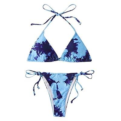 KESEELY Women's Sexy Tie-Dye Lace Up High Cut Leg Halter Bikini Set Two Piece Swimsuit Blue