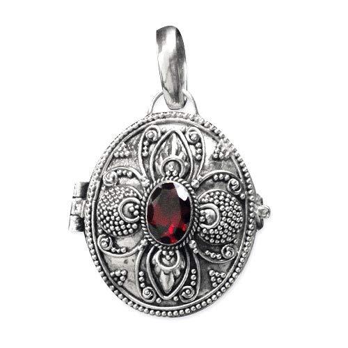 Anhänger Medaillon Secret Box 925 Sterling Silber mit Granat
