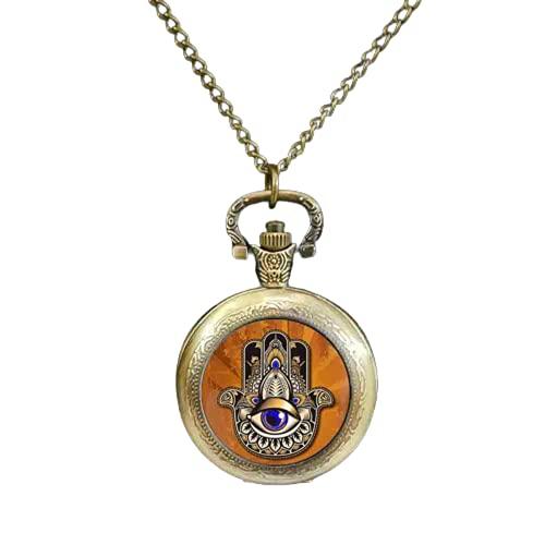 Reloj de bolsillo Hamsa, Reloj de bolsillo de mano de Fátima, Hamsa Hand Jewelry, Reloj de bolsillo de cristal de arte, Hamsa, Reloj de bolsillo Kabbalah