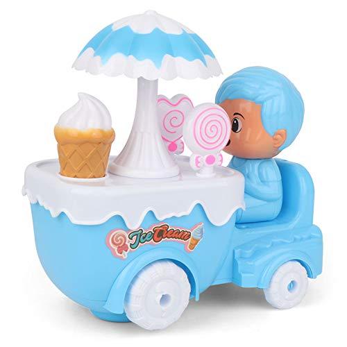 DishyKooker Elektrische auto voor kinderen, ijs, snoepmandje, licht, muziek-projectie, universele wielen