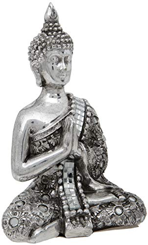 Maturi Thai Buddha with Reflective Silver Meditation Shawl with Hands Clasped -13 cm / 5.5-inch, H525