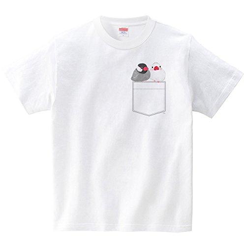 ポケット文鳥(Tシャツ・ホワイト)(Sサイズ) (イシイミホ)