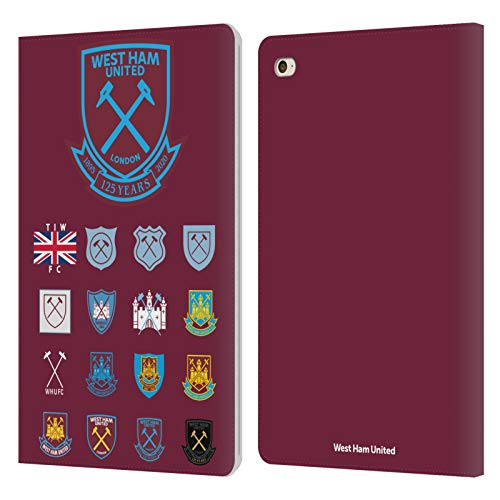 Head Case Designs Officially Licensed West Ham United FC Pattern 2 Crest History Leather Book Wallet Case Cover Compatible with Apple iPad Mini 4
