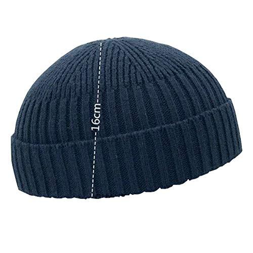 Mode Herbst Winter Strickmütze Skull Cap Matrosen Cap Cuff Beanie Vintage für Herren Damen - - Einheitsgröße